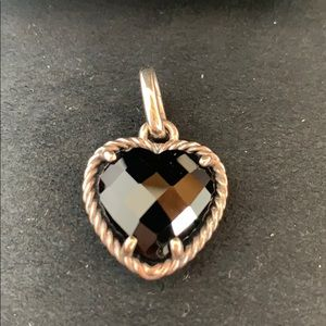 David Yurman Heart Black Onyx Necklace Pendant